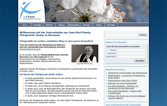 Screenshot - Internetseite von Jean-Paul Pianta, Chiropractic Center in Hannover