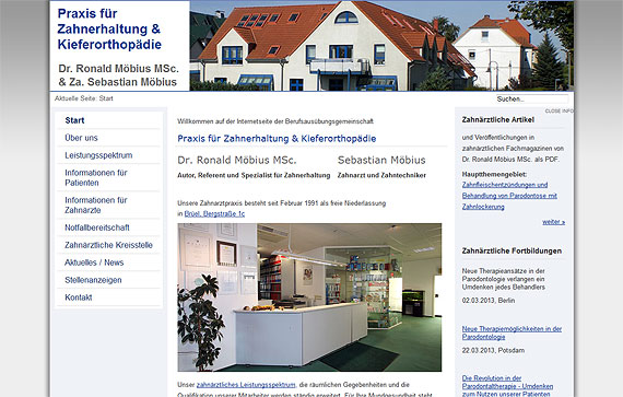 Screenshot Praxis für Zahnerhaltung & Kieferorthopädie Dr. Ronald Möbius MSc. & Za. Sebastian Möbius