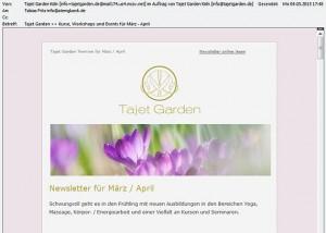 Newsletter Design für Tajet Garden Köln