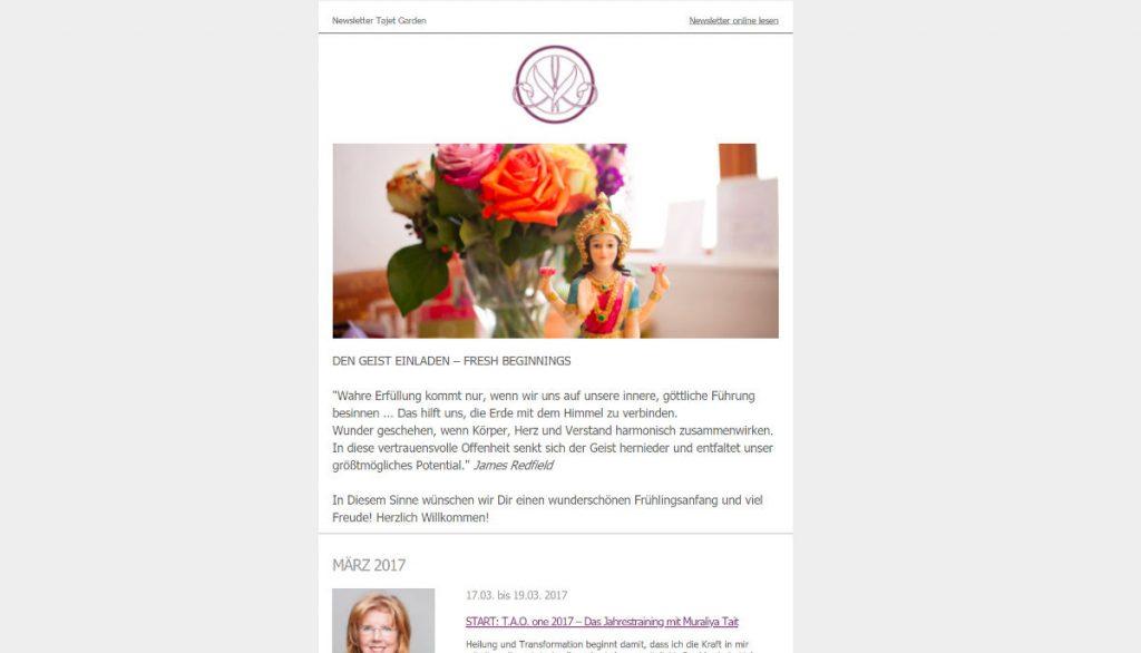 Tajet Garden Köln Newsletter Design