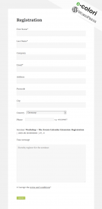 Event Registration WordPress Plugin - Registration Form