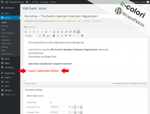 Event Registration WordPress Plugin - Shortcode Button