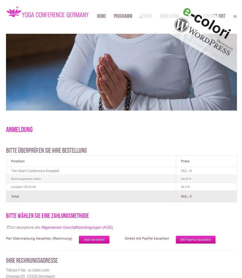 Wordpress Plugin Anmeldung Paypal Zahlung Pdf Rechnung E Coloricom
