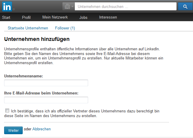 LinkedIn Unternehmensseite erstellen anlegen - Screenshot